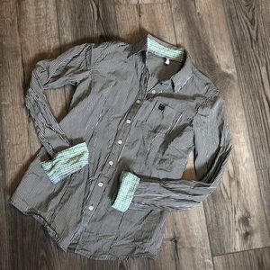 Striped and plaid cinch button up women's small